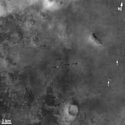 Détail du centre de l'ellipse d'atterrissage de la sonde Phœnix sur Mars