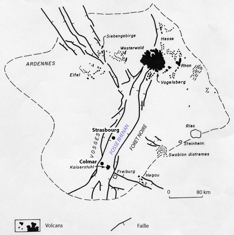 Carte des centres volcaniques du graben du Rhin