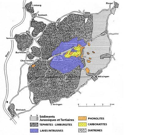 Carte schématique des roches éruptives du Kaiserstuhl après avoir enlevé la couverture de loess