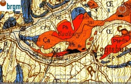 Carte géologique du Badberg au cœur du Kaiserstuhl