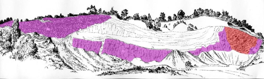 Les fameux afffleurements de llimburgite, à l'Ouest du Limberg, complexe du Kaiserstuhl