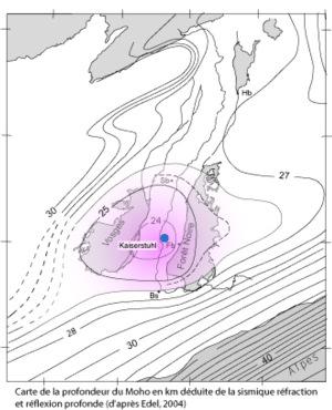 Carte de la profondeur (en km) de la discontinuité de Mohorovocic sous le Kaiserstuhl