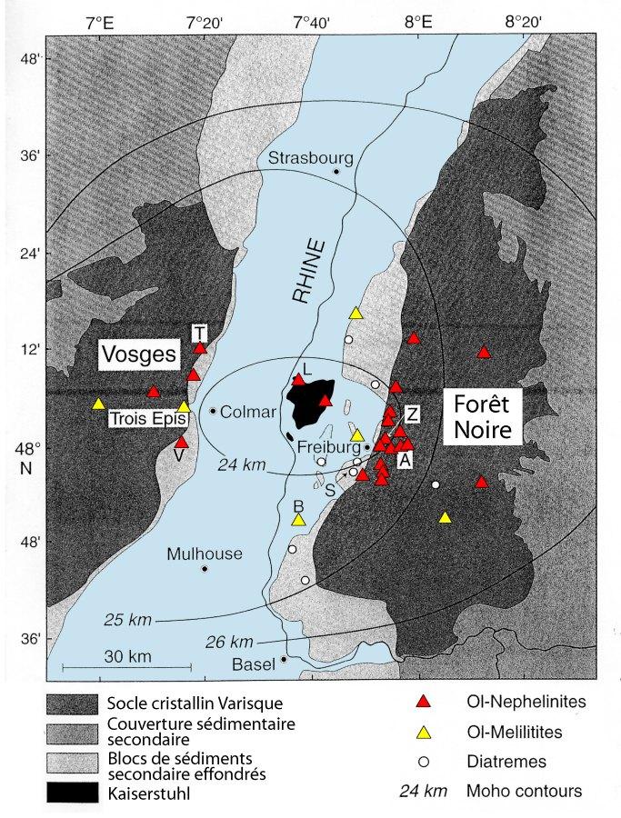 Carte des centres volcaniques du Sud du fossé rhénan