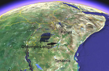 Photographie satellite de la région du rift Est-africain sur laquelle sont délimités la Tanzanie et le Kenya