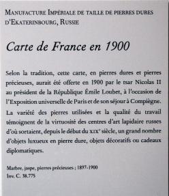 Cartel accompagnant la carte, au Palais de Compiègne