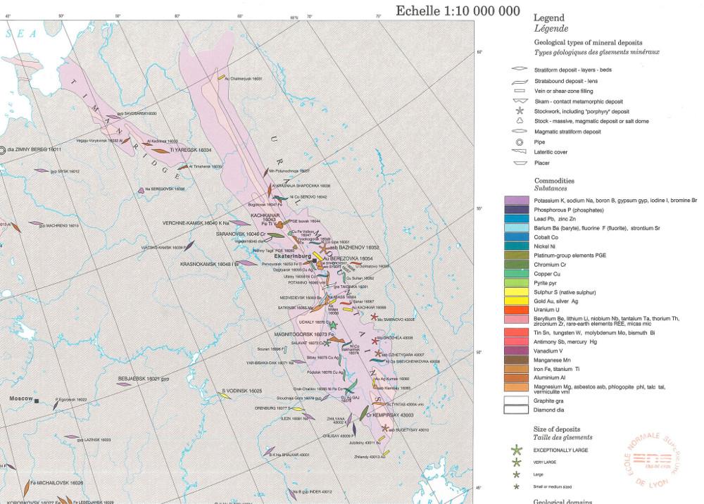 Extrait de l'Atlas minéral du monde, feuille n° 9 Carte minérale de l'Europe et des pays limitrophes au 1/10000000, montrant les gisements minéraux recensés au XXe siècle dans l'Oural