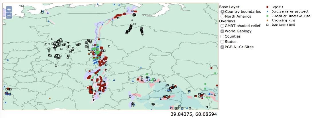 Capture d'écran de la répartition des gisements actuels de Ni-Cr-PGE dans l'Oural