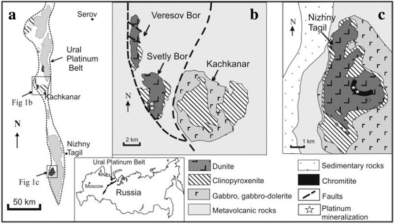 Carte schématique de la «ceinture du platine» de l'Oural et détail de deux des massifs péridotitiques associés à des minéralisations de platine et source primaire des gisements secondaires de placers