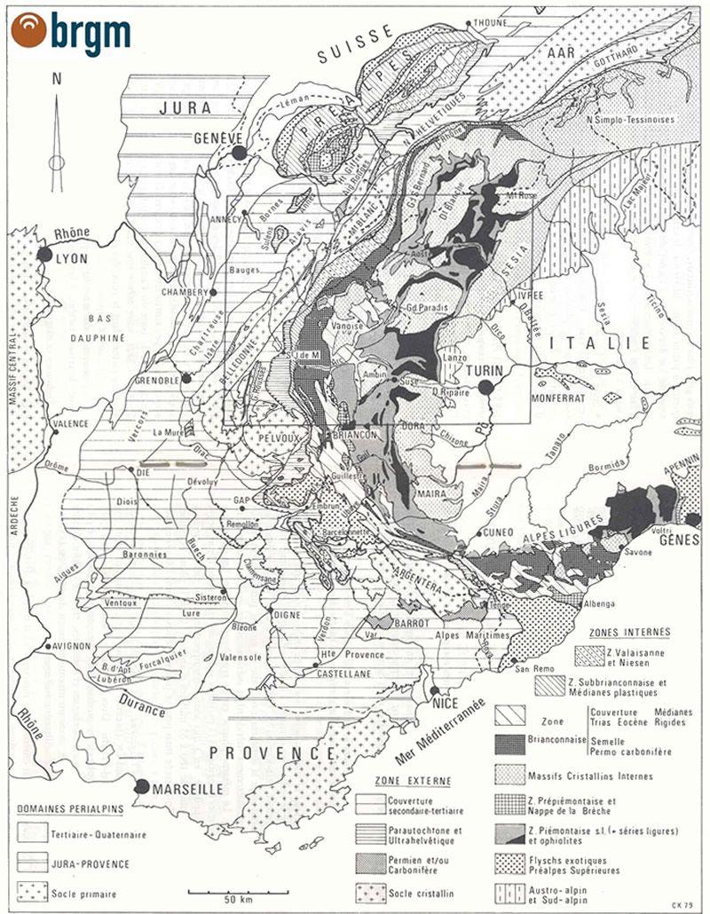 Localisation du secteur couvert par la carte d'Annecy, distinction des différentes zones géologiques