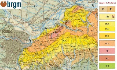 Secteur Sud-Est de la carte d'Annecy, région du Montferrat (extrémité NW des Apennins)