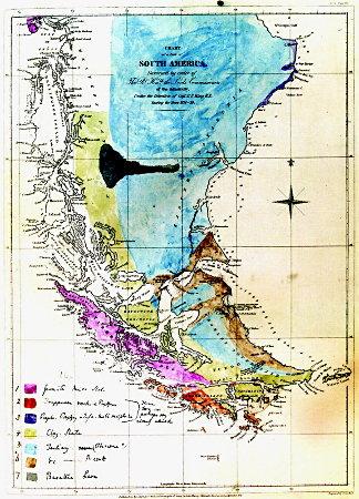 Géologie du Sud de l'Amérique latine, reportée par Charles Darwin durant le voyage du Beagle sur un fond de carte établie entre 1826 et 1830, comme l'indique son titre