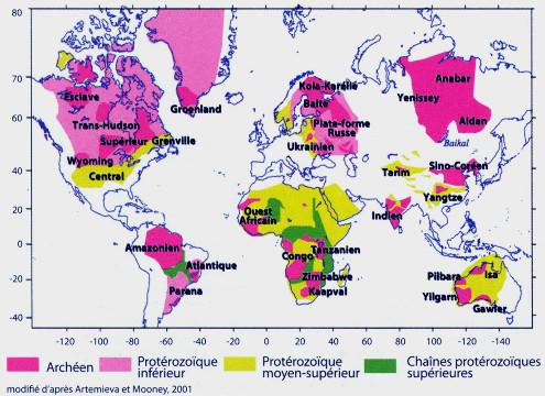 Répartition des roches continentales les plus anciennes, archéennes et protérozoïques, et dénomination des principaux cratons