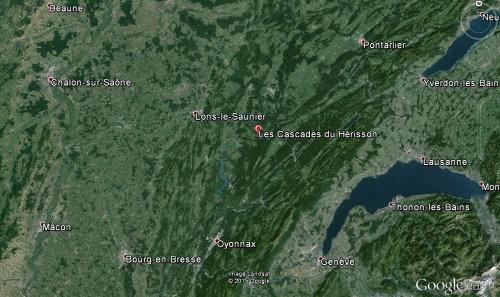 Localisation des cascades du Hérisson dans le Jura
