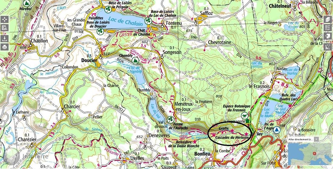 Localisation plus précise des chutes du Hérisson (Jura)