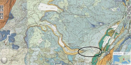 Carte géologique du secteur des chutes du Hérisson (Jura)