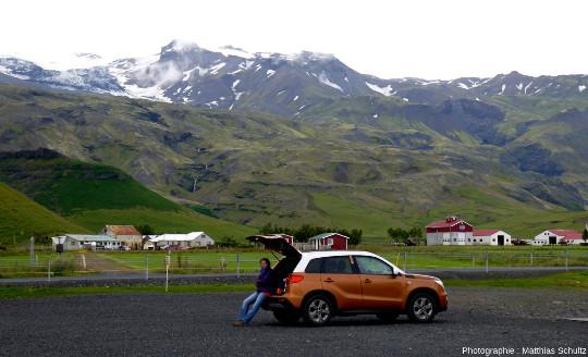 Le glacier Eyjafjallajökull dans les nuages vu depuis la route circulaire au Sud de l'Islande