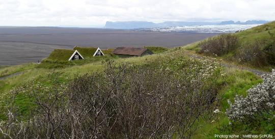 Anciennes bergeries restaurées de Sel, non loin de Svartifoss, à Skaftafell, dans le parc de Vatnajökull, au Sud-Est de l'Islande