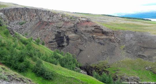 Contact entre les grès blonds lacustres et les coulées basaltiques un peu en aval d'Hengifoss, dans l'Est de l'Islande