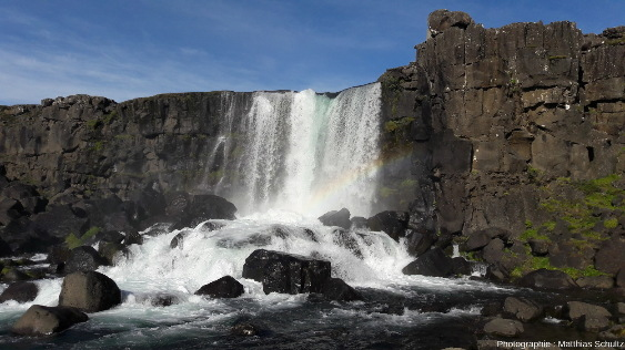 La chute d'eau Öxaràrfoss, dans le graben de þingvellir, dans le Sud-Ouest de l'Islande