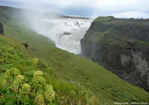 Vue d'ensemble de Gullfoss, la «chute dorée», dans les hautes terres du Sud de l'Islande