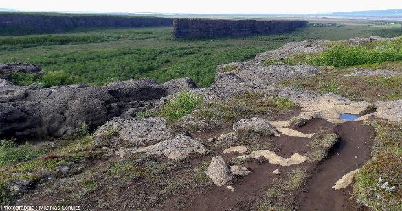 Vue depuis l'Est de la partie aval du gigantesque amphithéâtre d'Ásbyrgi, près de la côte Nord-Est de l'Islande et de l'estuaire de la Jökulsá á Fjöllum