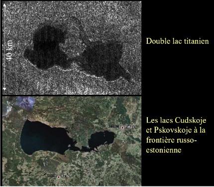 Deux lacs en connexion sur Titan, comparaison avec les lacs terrestres de Cudskoje - Pskovkoje