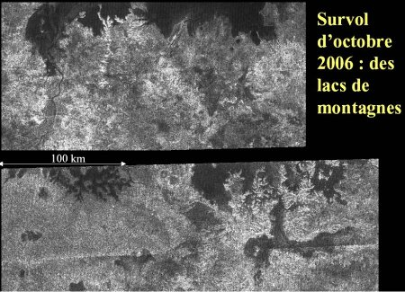 Deux images de lacs de Titan en région montagneuse