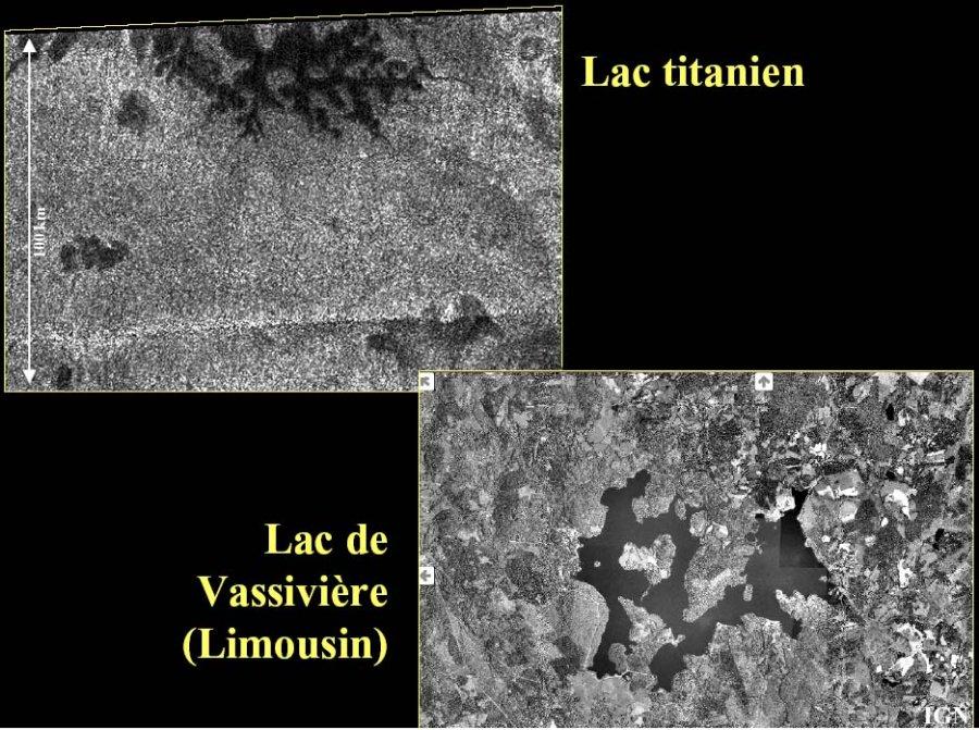 Comparaisons entre un lac de Titan et un lac terrestre
