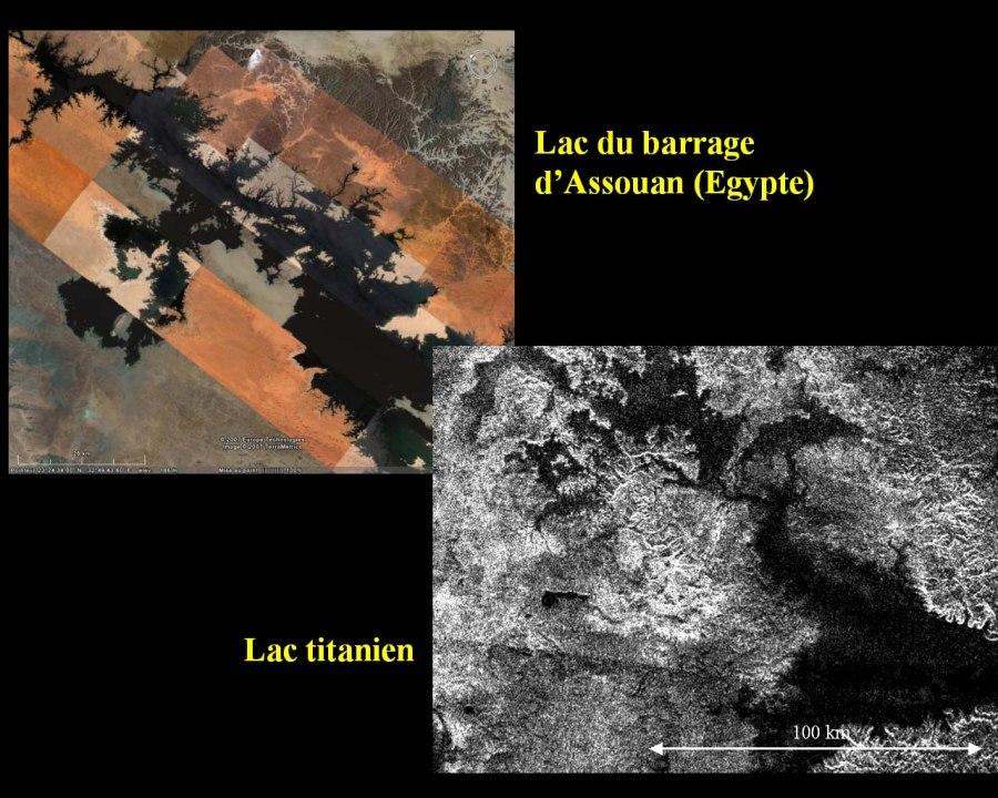 Un lac sur Titan et un lac terrestre à côtes très découpées