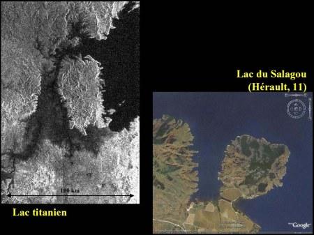 Lacs à côtes très découpées sut Titan et sur Terre