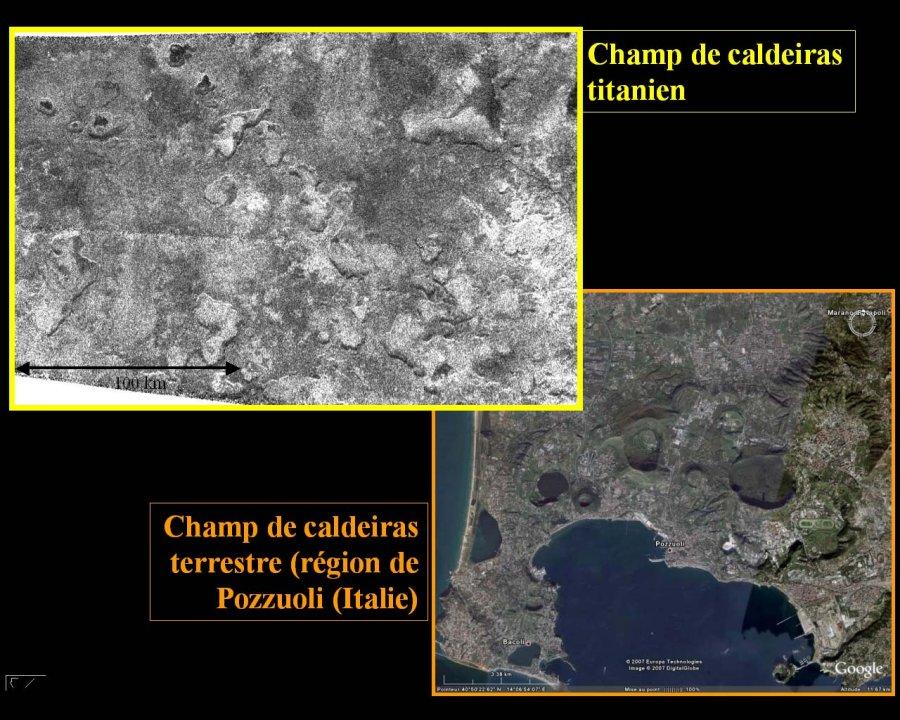 Champ de dépressions sur Titan et sur Terre