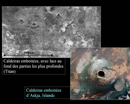 Détail des dépressions (caldeiras ?) de Titan et de la caldeira d'Askja (Islande)