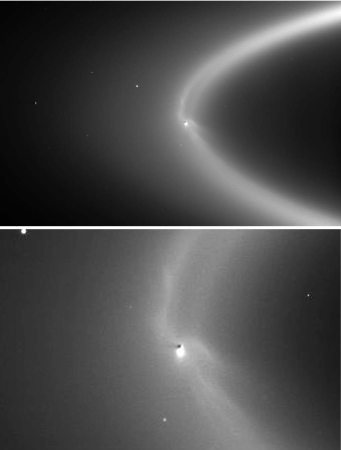 Vue générale (en haut) et détaillée (en bas) de l'interaction entre le panache éruptif d'Encelade et l'anneau E de Saturne