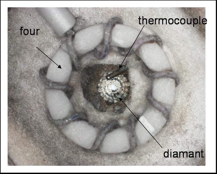 Photographie d'un micro-four résistif entourant un diamant.