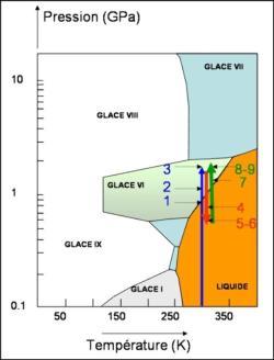 Diagramme de phase de H2O montrant les domaines de température et de pression de stabilité des différentes formes de H2O.