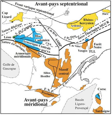 La zonation de la chaîne varisque en France, en Belgique et en Angleterre