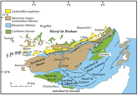Schéma structural du massif de l'Ardenne franco-belge