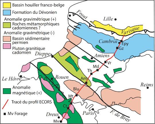 Localisation du profil ECORS-Nord de la France avec la position des forages