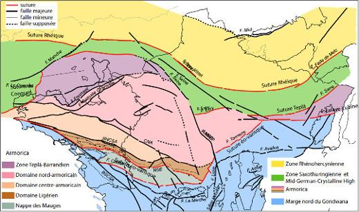 Schéma structural du substratum varisque du Bassin de Paris et des massifs environnants