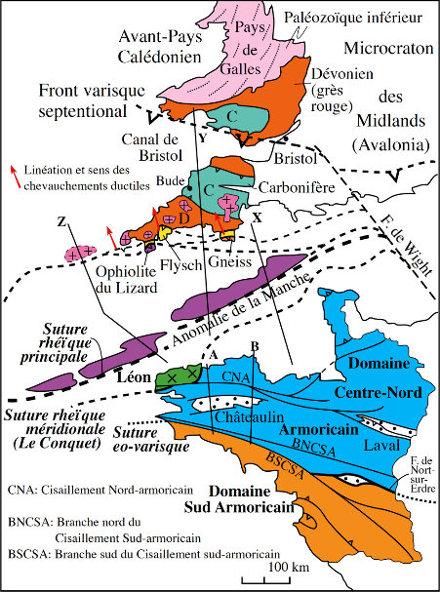 Schéma structural du massif armoricain et du Sud-Ouest de l'Angleterre montrant les trois sutures ophiolitiques, le chevauchement du Lizard et le front varisque septentrional au Pays de Galles