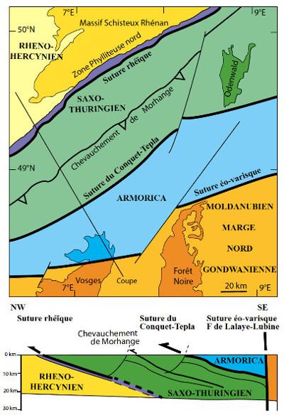Schéma structural et coupe interprétative montrant les relations entre les domaines rhéno-hercynien et saxo-thuringien entre le Massif schisteux rhénan (= Ardenne) et l'ensemble Vosges-Forêt Noire