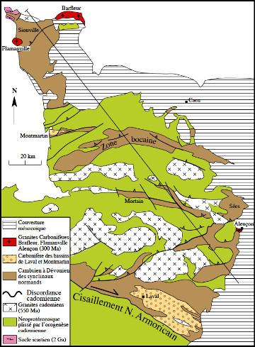 Schéma tectonique des structures varisques dans le domaine mancellien, Nord-Est du Massif armoricain