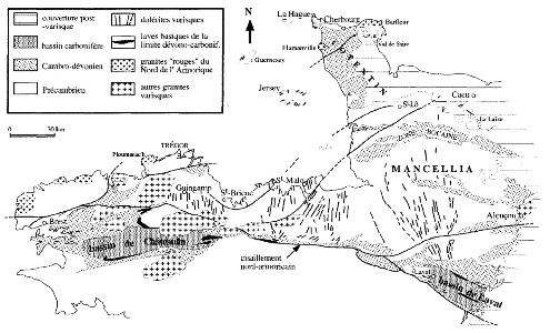 Carte des essaims de filons doléritiques d'âge Dévonien du domaine Centre-Nord Armoricain
