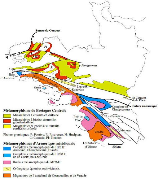 Carte des métamorphismes varisques dans les domaines Centre-Nord Armoricain et Sud-Armoricain