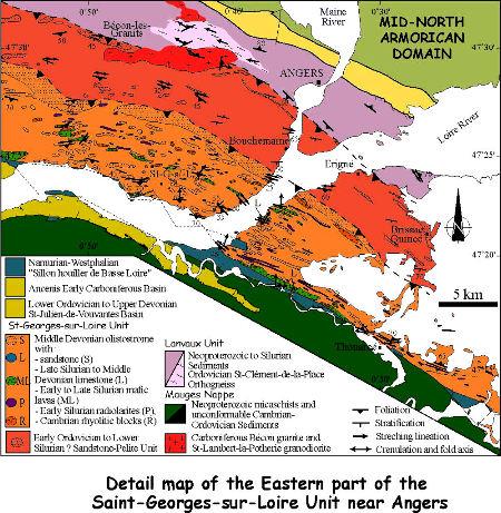 Carte structurale détaillée de la partie orientale de l'unité de Saint-Georges-sur-Loire et des unités tectoniques environnantes