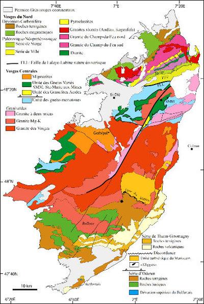 Carte géologique des Vosges