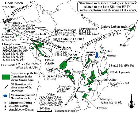 Schéma structural des massifs Armoricain, Central et des Vosges localisant les roches de haute pression et les données structurales et géochronologiques des évènements D0 et D1