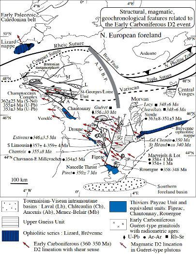 Schéma structural des Massifs Armoricain, Central et des Vosges localisant les données structurales, magmatiques et géochronologiques de l'évènement D2