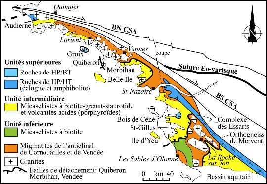 Schéma structural du domaine Sud-Armoricain
