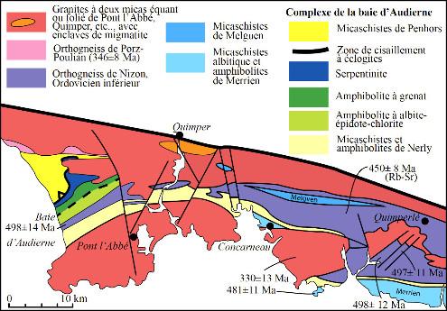 Carte de la partie occidentale du domaine Sud-Armoricain, de la baie d'Audierne à Qimperlé